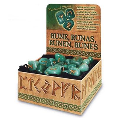 Руны из Зеленого Авантюрина + коробочка
